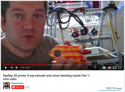The 3D printing YouTube channels Richard Horne is presenting some really cool RepRap projects.
