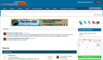 LES IMPRIMANTES 3D.FR est l'un des plus gros forum de l'impression 3D, il est relié au site de new LES IMPRIMANTES 3D.FR