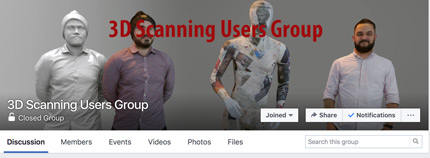 3D scanning users group is one of the best Facebook groups for 3D scanning passionates.