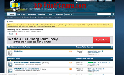 3Dprintforums.com is a great 3D printing forums for members to exchange about 3D printing.