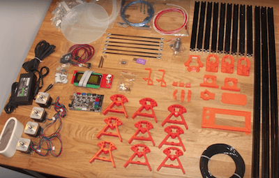Unassembled Kossel Delta type 3D printer