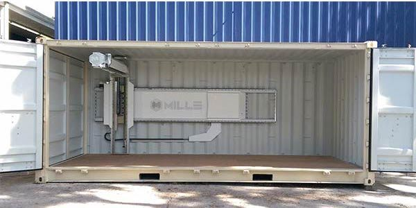 The Millebot MILLE, an XXL industrial 3D printer inside a shipping container.