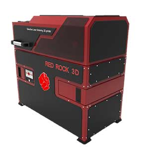 The RED ROCK 3D RED ROCK is a desktop SLS 3D printer that sinters powdered material.
