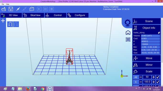 Screenshot of CreationWorkshop software.