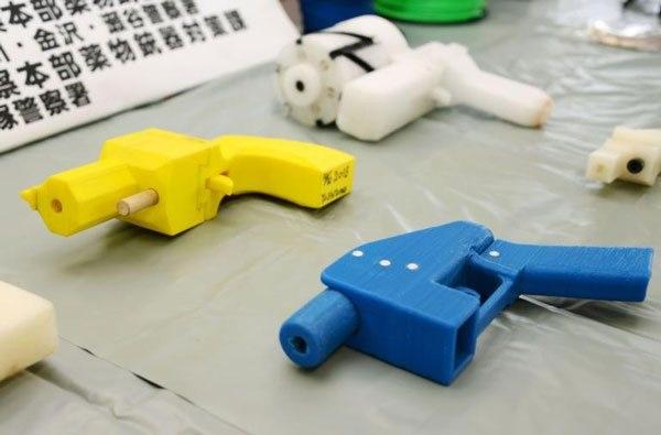 Pistolets en plastique imprimés en 3D, saisis lors de l'arrestation de Yoshitomo Imura en 2014 à Tokyo.