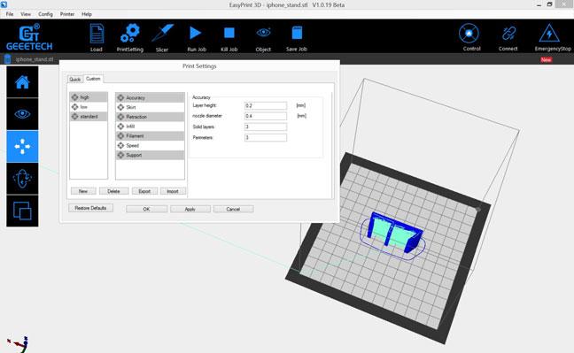 Geeetech E180 avis - logiciel EasyPrint