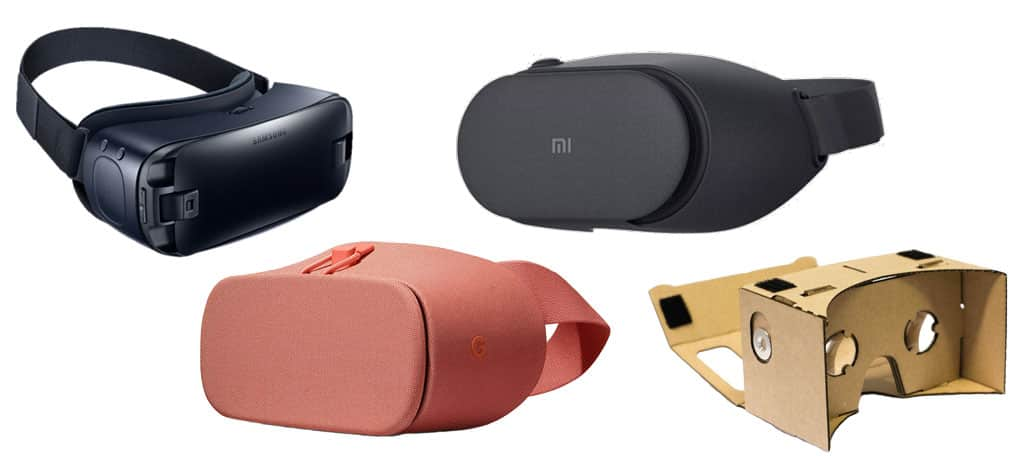 Types of VR headsets – smartphone VR headsets and VR viewers: Samsung Gear VR, Google Daydream View 2, Xiaomi Mi VR Play 2, Google Cardboard.