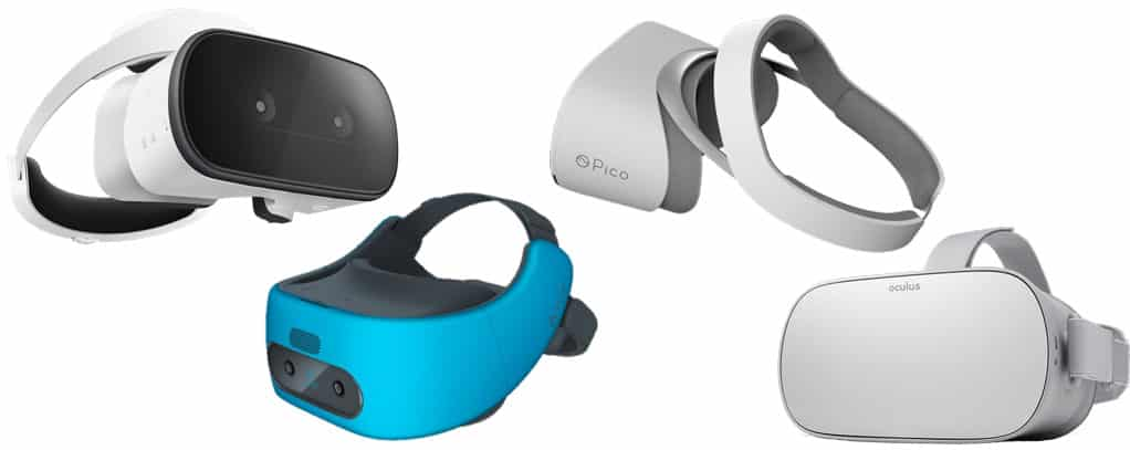 Types of VR headsets – standalone VR headsets (all-in-one VR): Lenovo Mirage Solo, HTC VIVE Focis, Pico Neo, Oculus Go.
