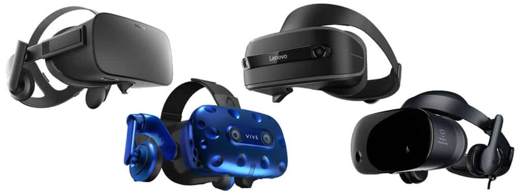 Types of VR headsets – tethered VR headsets (PC VR, desktop VR): Oculus Rift, HTC VIVE Pro, Lenovo Mirage, Samsung Odyssey.