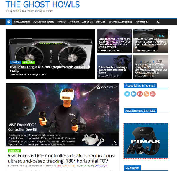 Tony's website, The Ghost Howls, is a treasure trove of VR/AR related information.