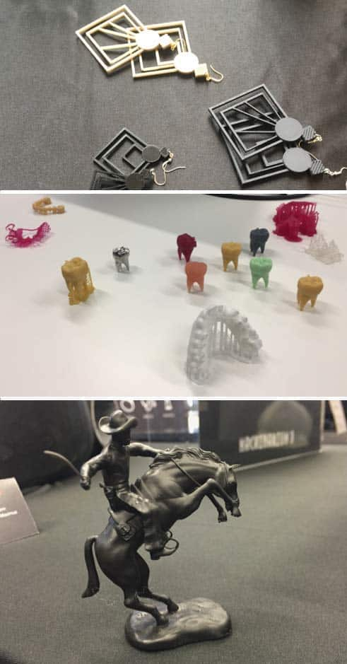 Some examples of resin 3D printing applications (jewelry, dental, figurines).