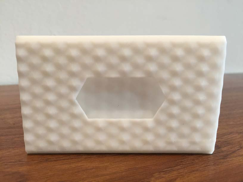 A business card holder 3D printed with the Tiertime UP mini 2 ES.
