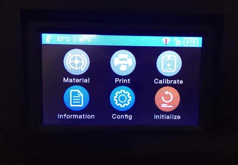 The main menu on the Tiertime UP mini 2 ES touchscreen.