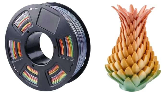 Multicolor 3D printer filament: Multicolor PLA by Zi Rui.