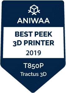 Best PEEK 3D printer award Tractus3D T850P