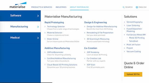 Materialise OnSite digital print 3D service online