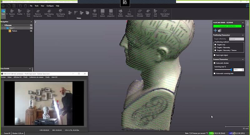 Olivier scanning a head model - VXElements software