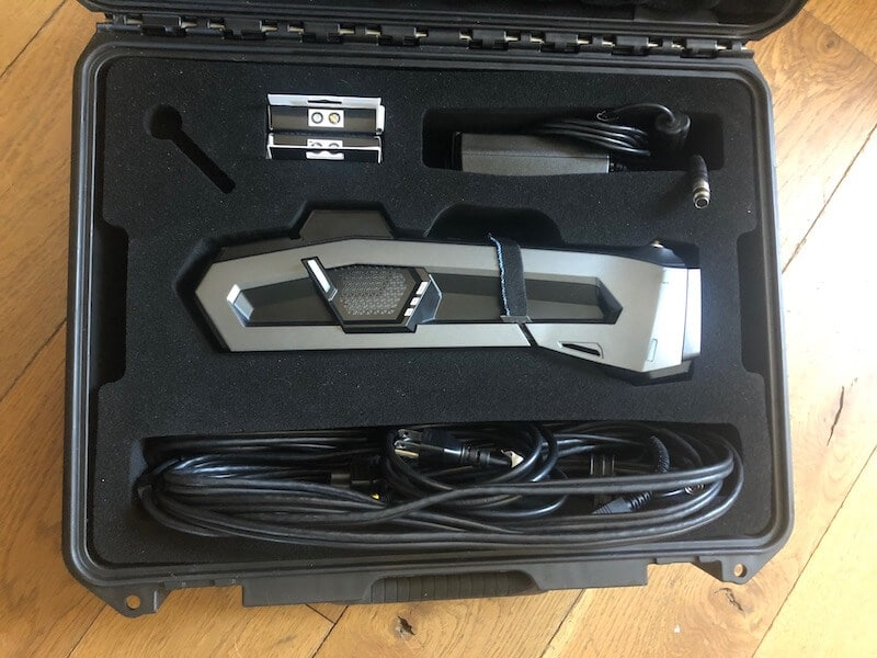 Creaform Go!SCAN SPARK and accessories packed into the dedicated transport case