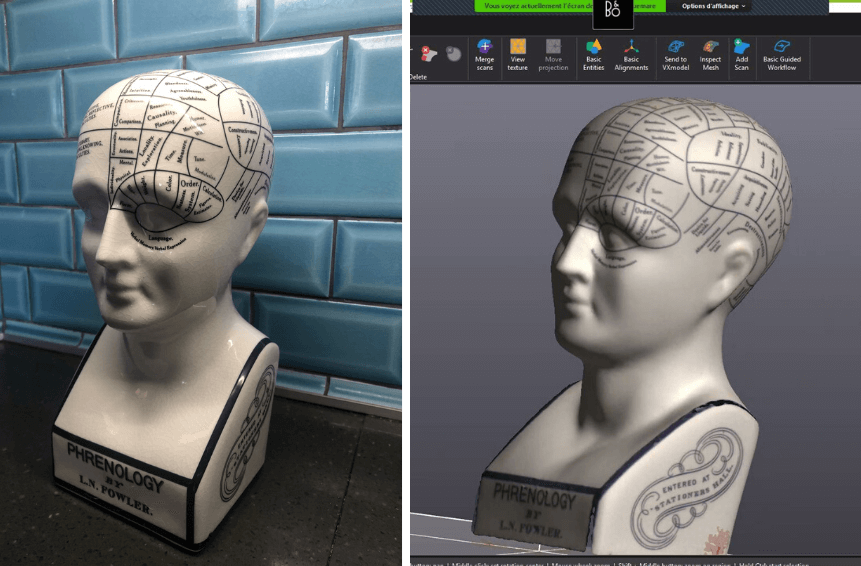 Original model vs 3D scan result