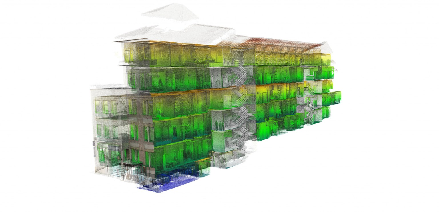 Point cloud of a building sourced from SLAM LiDAR scanning technology