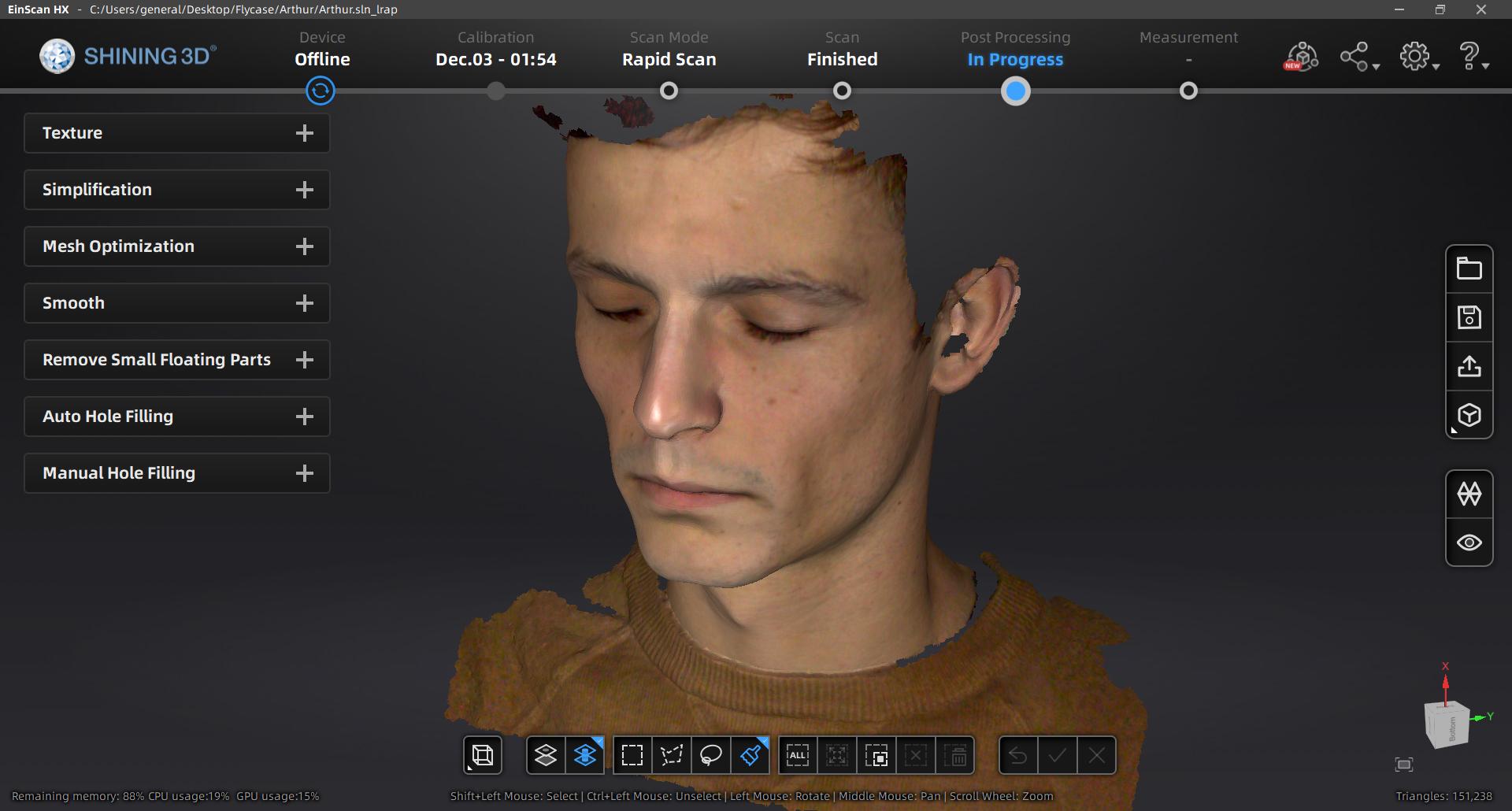 Human head 3D scan