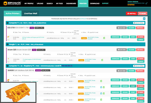 3DPrinterOS cloud 3D printer management