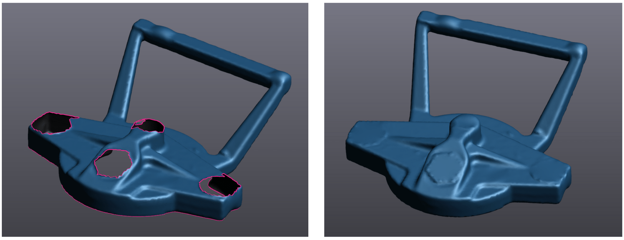 The 3D model before and after filling in the holes
