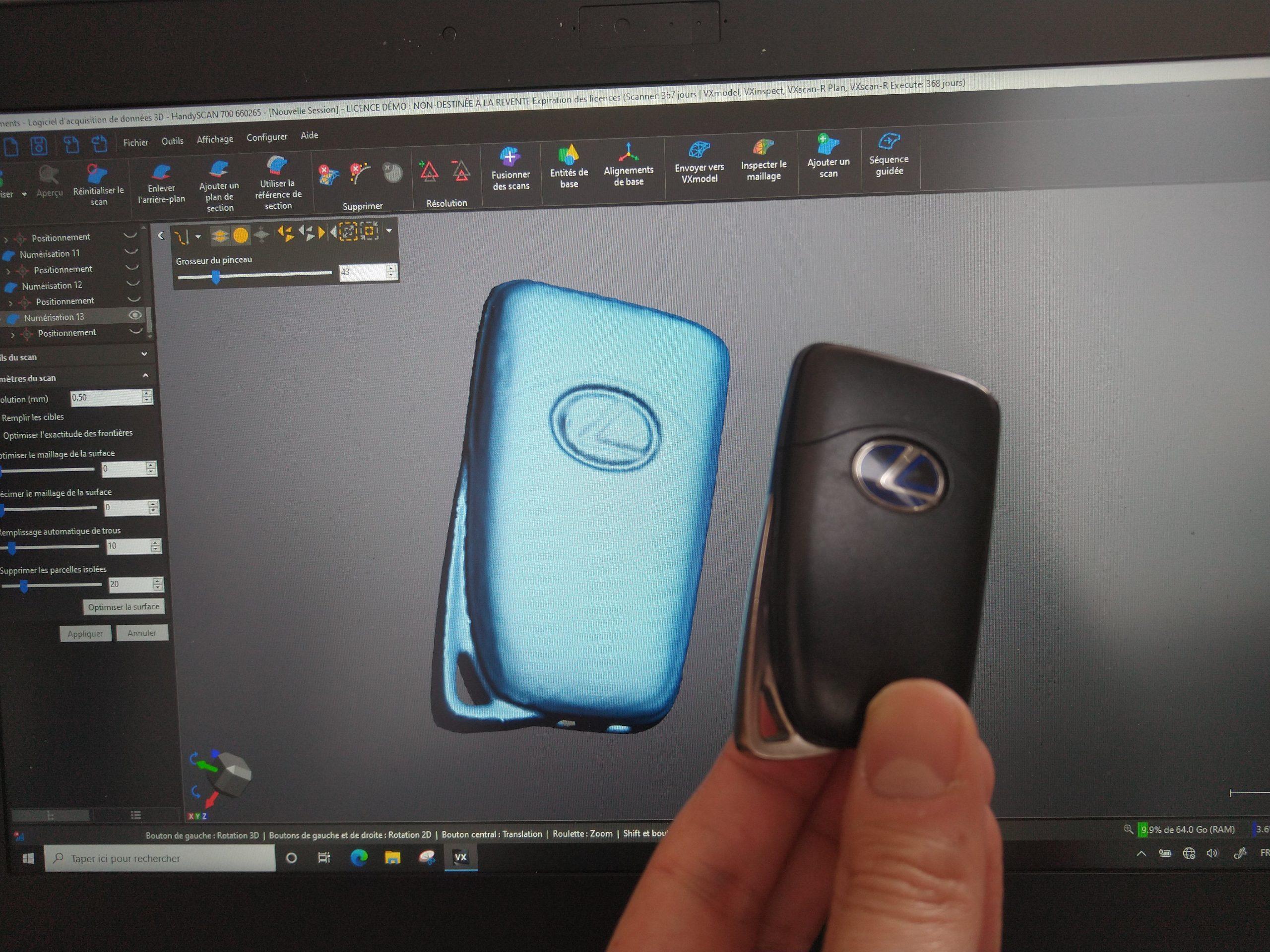 Lexus car key 3D Scanner review